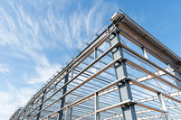 steel frame workshop is under construction