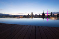 cityscape of modern city and tranquil pool