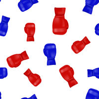 Red Blue Boxing Gloves Seamless Pattern