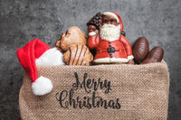 Festive Christmas rustic background with sweets and decoration