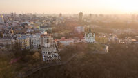Panorama of Kiev and St. Andrew's Church on sunset, Ukraine