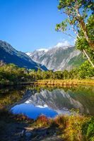 Franz Josef glacier and lake, New Zealand