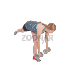 Young woman working out with two dumbbell's