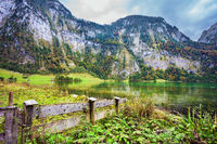 Pretty lake Konigssee in autumn