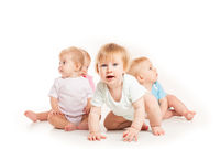 Four babies isolated
