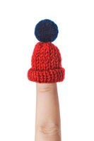 Winter hat on finger