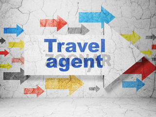 Tourism concept: arrow with Travel Agent on grunge wall background