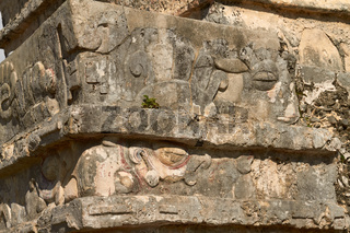 Detail of Mayan Ruins of Temple in Tulum Mexico