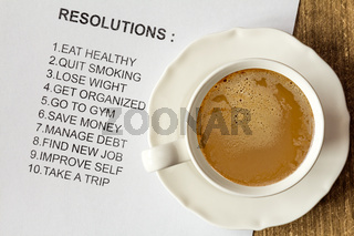 Cup of cappuccino with list of new resolutions