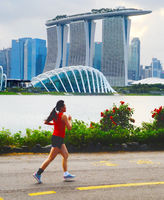 Woman jogging in Singapore bay