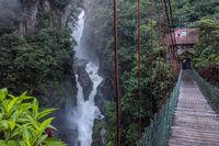Devil's Cauldron waterfall (spanish: Pailon del Diablo) - Mountain river and fall in the Andes. Banos. Ecuador
