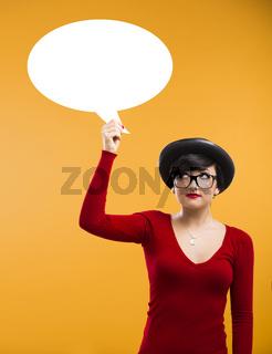 Girl holding a thought ballon