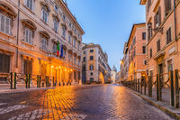 Rome street and city skyline at night, Rome (Roma), Italy