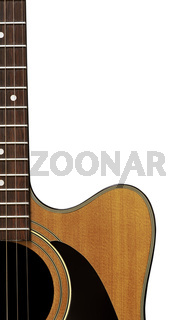 Acoustic guitar isolated on a white background. Crop includes body and neck.