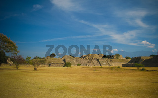 Panorama of old mayan ruined city of Monte Alban, Oaxaca, Mexico