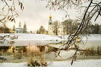 View of St. Sophia Cathedral and the bell tower of the city of Vologda