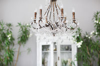 Crystal chandelier in room interior