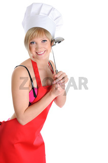 Beautiful cook with a ladle