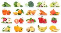 Früchte Obst und Gemüse Apfel Tomaten Orange Birne Karotten Farben Sammlung Freisteller freigestellt isoliert