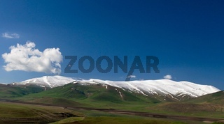 Landscape with the covered by snow mountain in the Syunik province, Armenia