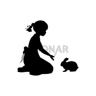 Silhouette girl sitting knees beckon rabbit
