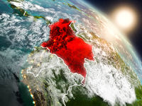 Colombia from space during sunrise