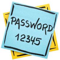 password reminder on sticky note