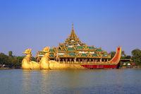 Floating Barge Karaweik in Yangon
