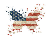 Butterfly shaped grunge vintage American US flag