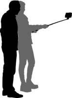 Silhouettes man and woman taking selfie with smartphone on white background