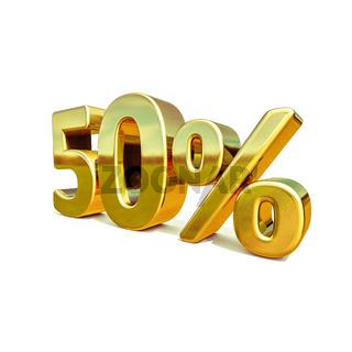 3d Gold 50 Percent Sign
