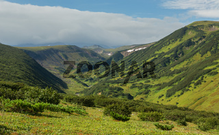 Beautiful summer view of Viluchinsky pass