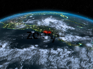 El Salvador from space at night