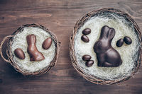 Delicious chocolate Easter bunny inside a basket