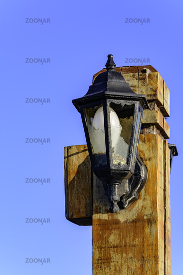 Old wooden light pole