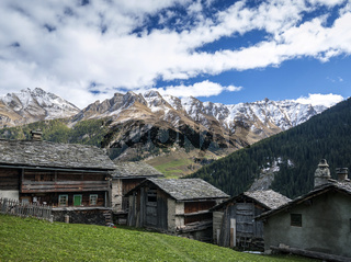 traditional swiss alps houses in vals village alpine switzerland
