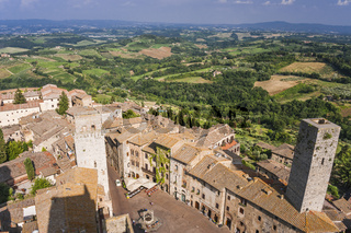 Stadt San Gimignano und Landschaft, Panorama, Toskana, Italien