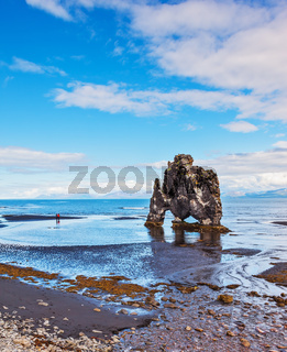 The picturesque cliff in the Bay of Huna im Iceland