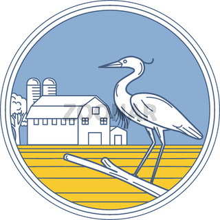 Great Blue Heron Farm Barn Circle Retro