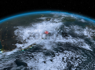 Swaziland from space at night