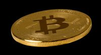 Isolated Bit coin or bitcoin against black