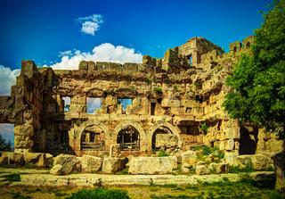 Ruins of Jupiter temple and great court of Heliopolis in Baalbek, Bekaa valley, Lebanon