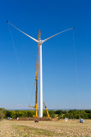 Installation of a wind turbine in wind farm construction site