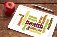health word cloud on tablet with apple