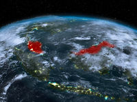 Malaysia from space at night