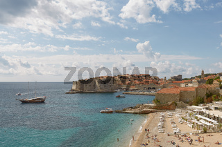 Panoramic view of the bay and Old Town of Dubrovnik, Croatia