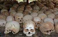 Schädel im Mahnmal bei den Killing Fields