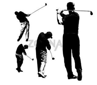 Golfspieler Silhouetten