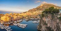 Monaco Ville Harbour sunrise panorama city skyline, Monte Carlo, Monaco