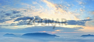 Sunrise sky view and mountain tops
